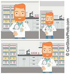 Pharmacist giving pills and glass of water - A hipster...
