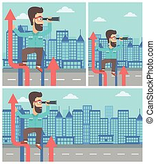 Businessman with spyglass on rising arrow. - A hipster...