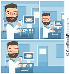 Male ultrasound doctor - Young hipster male doctor working...
