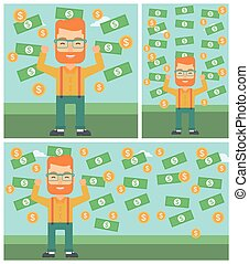 Happy businessman under money rain - Young hipster...