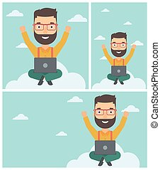 Man on cloud with laptop vector illustration. - A happy...