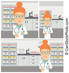 Pharmacist giving pills and glass of water. - Young female...