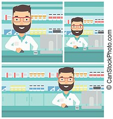 Pharmacist at counter with cash box. - A hipster pharmacist...