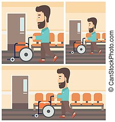 Man pushing wheelchair - Young hipster man with the beard...