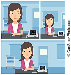 Blood pressure measurement. - Young woman taking care of her...