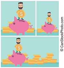 Man putting coin in piggy bank vector illustration - Hipster...
