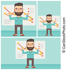 Businessman with decreasing chart. - Stressed hipster...
