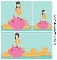 Business woman putting coin in piggy bank. - Young business...