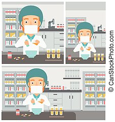 Pharmacist preparing medication. - A hipster pharmacist with...