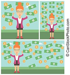 Happy business woman under money rain - Young business woman...