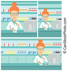 Pharmacist writing prescription - Young female pharmacist in...