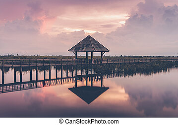 A pavillion overlooking a marsh in Sam Roi Yod National...