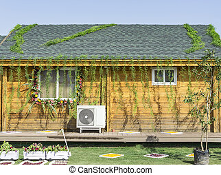 Decorated home with flowers and leaves - Decorated wood home...