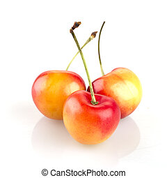 Three Rainier Cherries - Three rainier cherries isolated on...