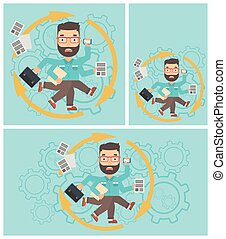 Businessman coping with multitasking - Hipster businessman...
