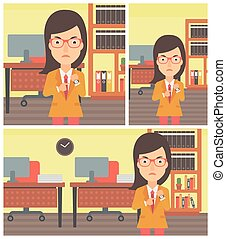 Angry business woman pointing at wrist watch - An angry...