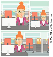 Successful business woman vector illustration - Young...