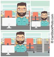 Successful businessman vector illustration - Young hipster...