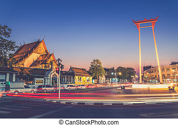 The Giant Swing and Suthat Temple at Twilight Time, Bangkok,...
