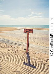 Beach access sign Vintage filter effect used