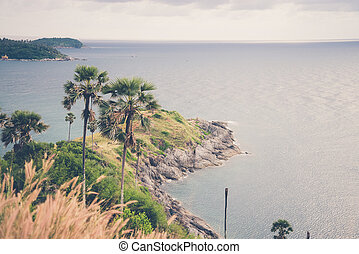 Promthep cape view point, Phuket, Thailand Vintage filter...