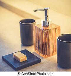 Liquid soap bottle Vintage filter effect used