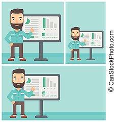 Businessman making business presentation. - Hipster...
