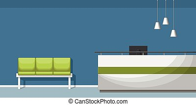 Illustration of a waiting room with counter