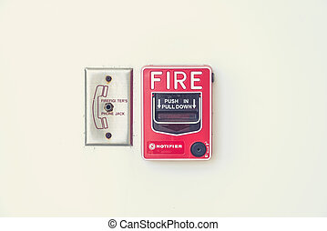 fire alarm notifier and pull down button (Vintage filter...