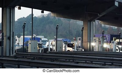Traffic passing toll booth - Istanbul, Turkey, Traffic...