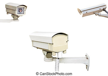Group of security cameras on white background.