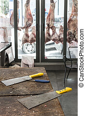 Veal and lamb meat in a butcher shop