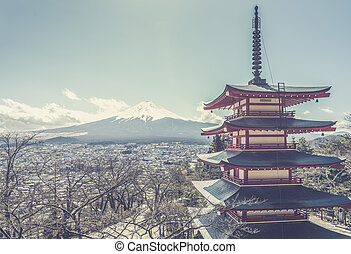 Mt Fuji with Chureito Pagoda at sunrise in autumn,...