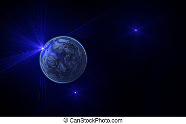 space landscape with the planet and stars