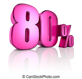 Eighty Percent Sign - Pink eighty percent sign isolated on...