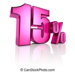 Fifteen Percent Sign - Pink fifteen percent sign isolated on...