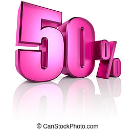 Fifty Percent Sign - Pink fifty percent sign isolated on...