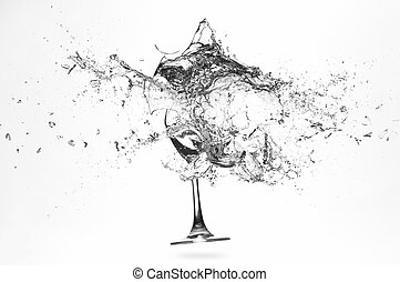 Explosion of a glass with water