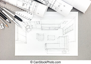 graphical sketch by pencil of interior living room with drawing tools and rolls of blueprint