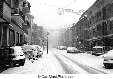Snowfall in the city streets.