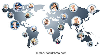 Collage of business people talking on the telephones -...