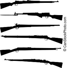 Six old shotguns black on white detailed silhouettes