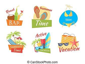 Set of Summer Vacation Conceps - Set of summer vacation...