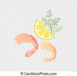 Shrimps Variations Vector Illustration