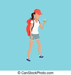 Hiker Traveller Vector Illustration - Hiking with backpack...