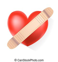 red heart with plaster on white background