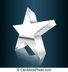 chrome star on dark blue background. vector illustration