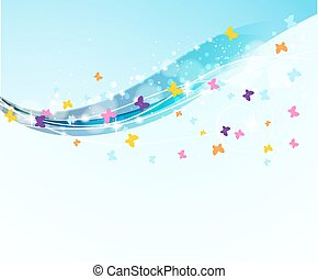 abstract background with flowing waves and flying butterflies