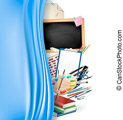 audio concept illustration with headphones and books. vector illustration