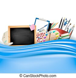 little blackboard border with notepad sheets, color pencils, pens, ruler,art palette, pile of books and blue silky curtain. school vector horizontal background